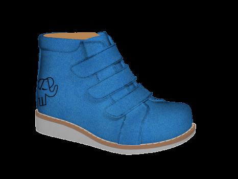 P1672 Sky Blue Split Suede Velcro