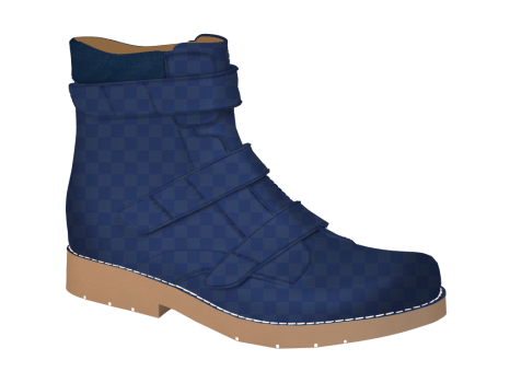 S1506 Navy Squares Patent Velcro (Alternative)