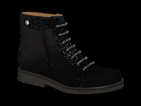 N302/2 Black Nubuck Combi Lace