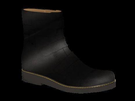 F1602 Black Polished Leather Velcro