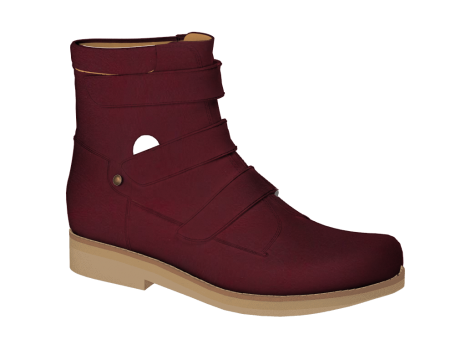 WP593/1 Burgundy Waterproof Leather Velcro