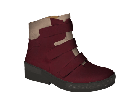 WP593 Burgundy Waterproof Leather Velcro