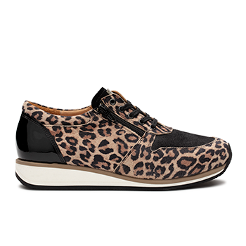 Debbie  - Y1872  Black Leopard Leather Combi