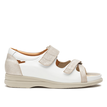 Theresa - L1601 White/silver Leather