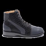 035 Grey/black leather
